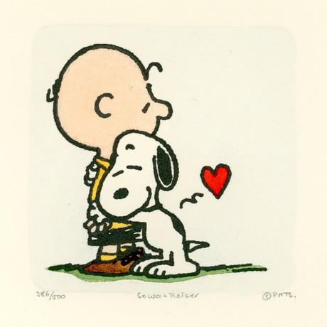 Charlie Brown + Snoopy // Hugs // Hand Painted Sowa & Reiser Etching #D/500 (Unframed)