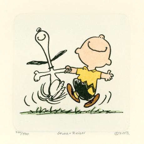 Charlie Brown + Snoopy // Happy // Hand Painted Sowa & Reiser Etching #D/500 (Unframed)