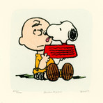 Charlie Brown + Snoopy // Lick // Hand Painted Sowa & Reiser Etching (Unframed)