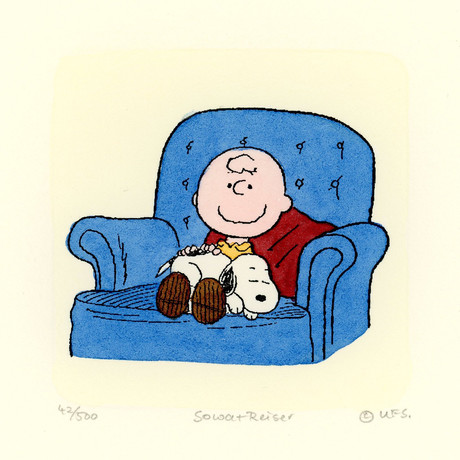 Charlie Brown + Snoopy // Couch // Hand Painted Sowa & Reiser Etching (Unframed)
