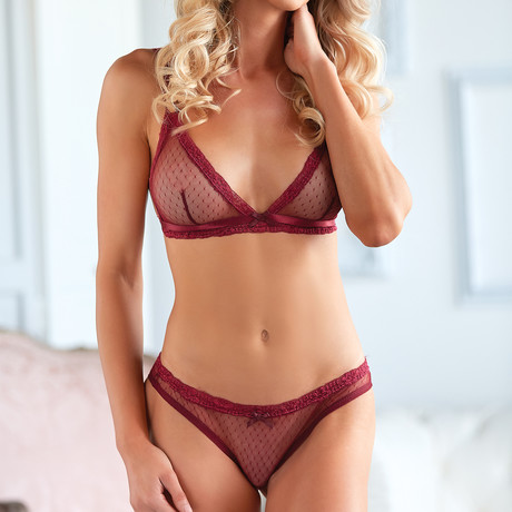 Mesh Bralette + Open Lace Up Panty // Ruby (Small/Medium)