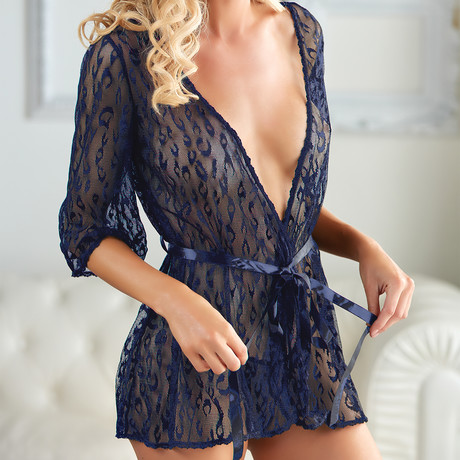 Allure // Leopard Lace Robe With G-String // Blue (Small/Large)