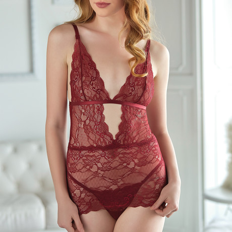 Allure // Lace Chemise With G-String // Burgundy (Small/Medium)
