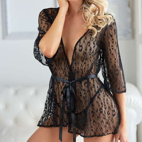 Allure // Leopard Lace Robe With G-String // Black (Small/Large)