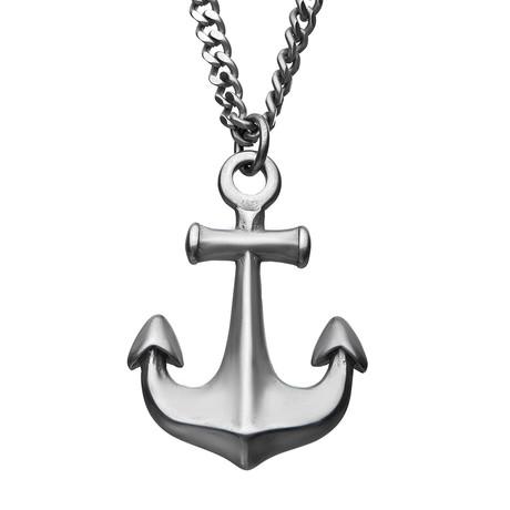 Vintage Anchor Pendant Necklace // Steel