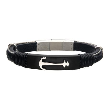Leather Anchor Bracelet // Black