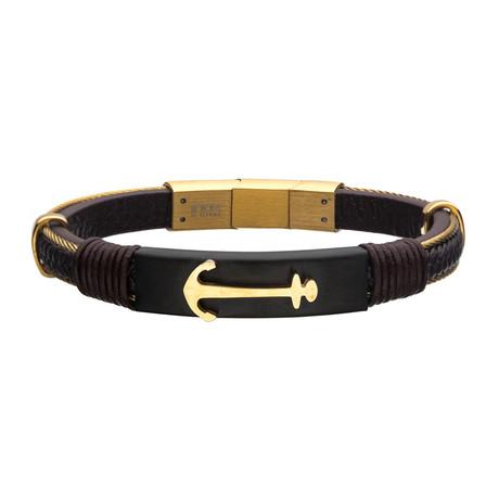 Leather Anchor Bracelet // Brown + Gold