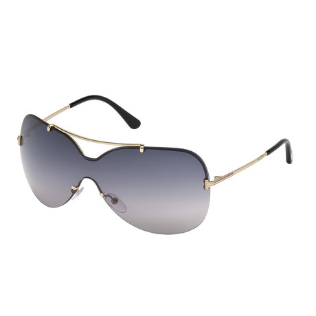 Women's Ondria Shield Sunglasses // Shiny Rose Gold + Smoke Gradient