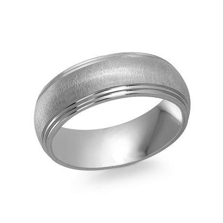 Satin Center + Polished Lined Edges Comfort Fit Ring (5)