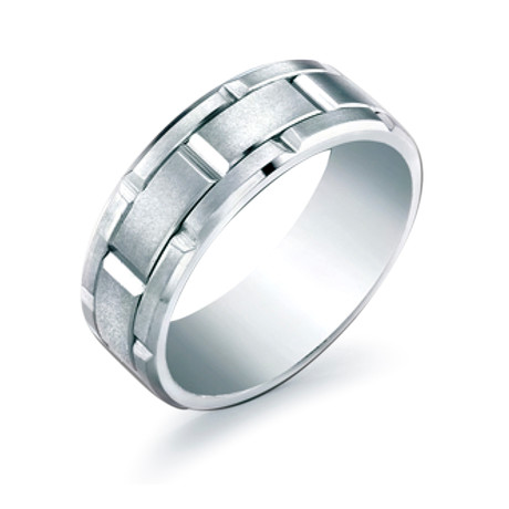 Brushed Grid Design Comfort Fit Ring (5)