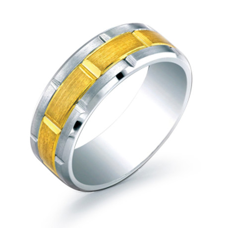 Inlay Brushed Grid Design Comfort Fit Ring (5)