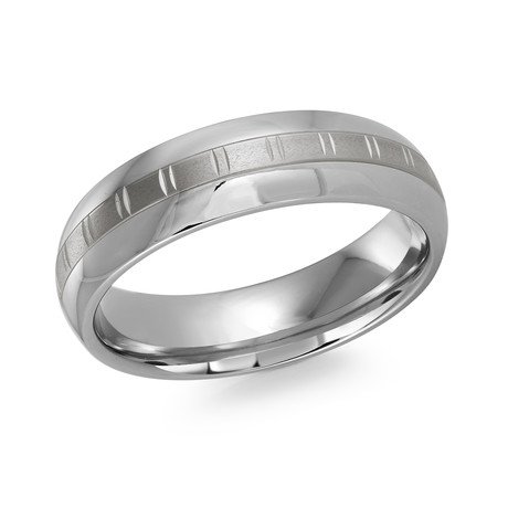 Brushed Grid Center + Polished Edges Design Comfort Fit Ring (5)