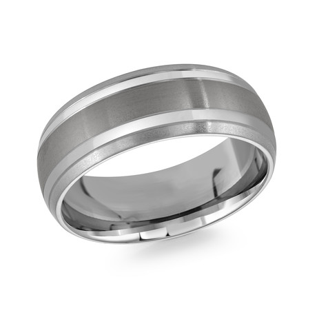 Brushed + Polished Striped Design Comfort Fit Ring (5)