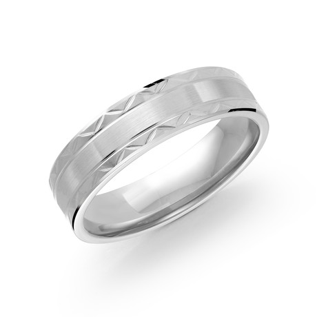 Brushed Center + Polished Diamond Cut Design Edges Comfort Fit Ring (5)