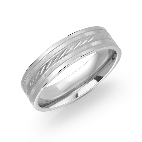 Brushed + Polished Diamond Cut Center Design Comfort Fit Ring (5)