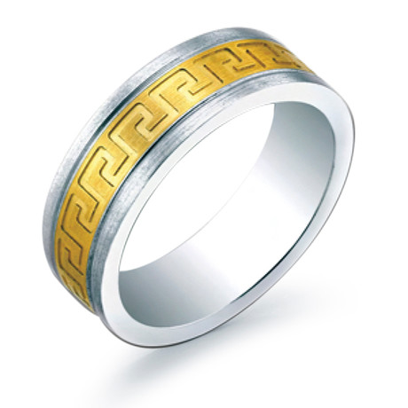 Inlay Greek Key Design Brushed Comfort Fit Ring (5)