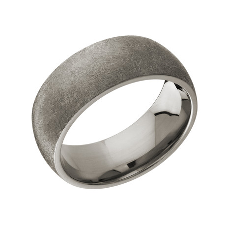 Brushed Scratch Surface Design Comfort Fit Ring (5)