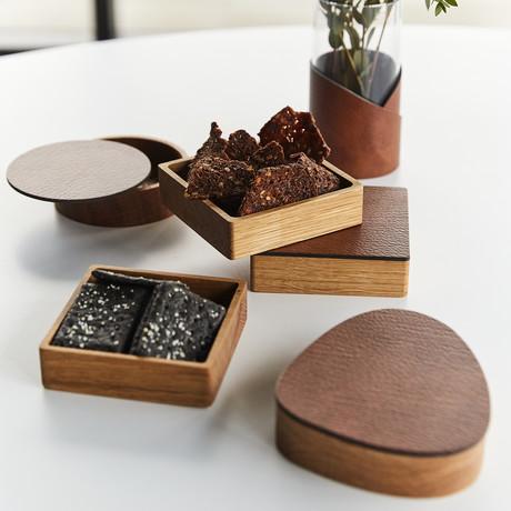 Curve Wood Box + Lid (Black)