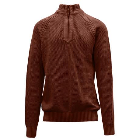 Quail Quarter Zip Sweater // Terracotta (S)