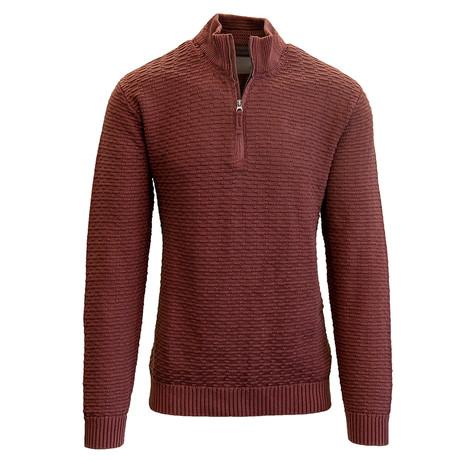 Jarvis Quarter Zip Sweater // Terracotta (S)