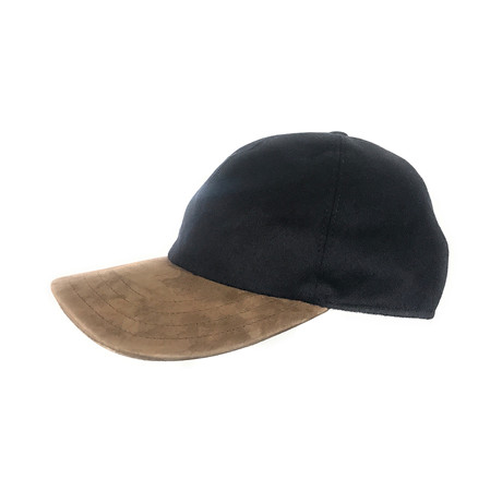 Hickey Freeman // Baseball Hat + Suede Visor // Navy + Tan (Size Medium)