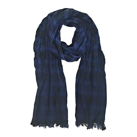 John Varvatos // Shirt Plaid Dip Dye Scarf // Blue