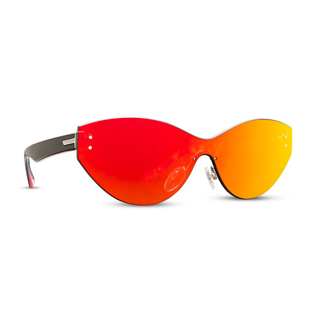Unisex Alt Taffey Sunglasses // Black + Gray Red Chrome