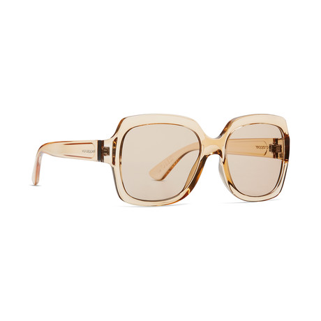 Women's Dolls Sunglasses // Light Tan + Bronze Gradient Silver Chrome