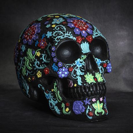 Colored Floral Skull // Black