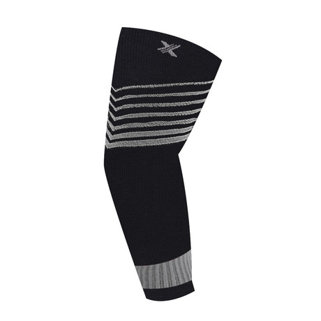 Ultra V-Striped Compression Elbow Sleeve // 1-Pair // Gray (S/M)