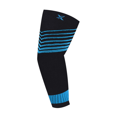 Ultra V-Striped Compression Elbow Sleeve // 1-Pair // Blue (S/M)