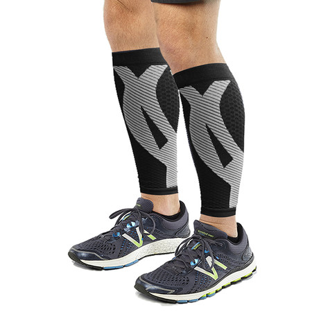 2.0 Copper-Infused Calf Compression Sleeves // 1-Pair // Black (S/M)