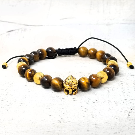 Stainless Steel Spartan Helmet + Natural Stone Beaded Adjustable Bracelet // 8mm (Onyx)