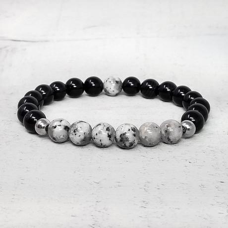 Agate + Natural Stone Beaded Bracelet // 8mm (Black + Orange Jasper)