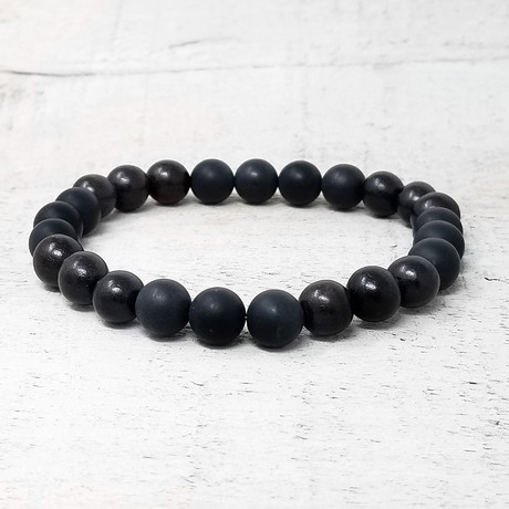 Wood Beaded Stretch Bracelet // 8mm (Onyx + Red Sandalwood + Willow Wood)