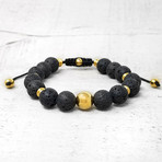 Gold Plated Stainless Steel Natural Stone Beaded Adjustable Bracelet // 10mm (Onyx)