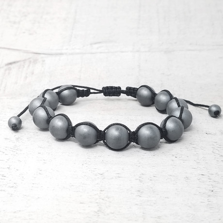 Hematite Stone Beaded Adjustable Bracelet // 10mm (Silver-Tone)