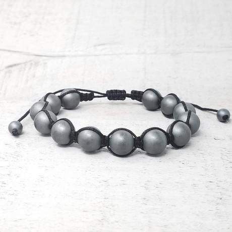 Hematite Stone Beaded Adjustable Bracelet // 10mm (Silver-tone)