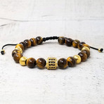 Natural Stone + Accented Stainless Steel Beaded Adjustable Bracelet // 8mm (Gold-tone)