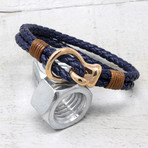 Polished Stainless Steel Hook Clasp Leather Bracelet // 10mm (Navy)