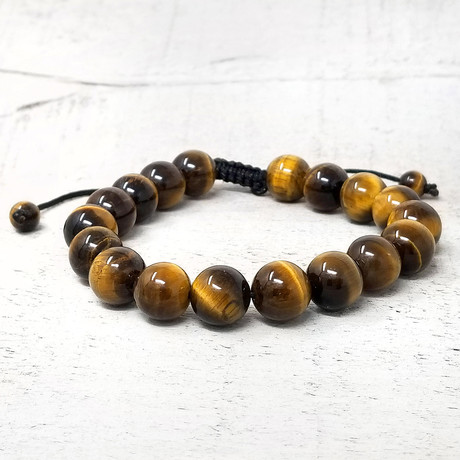 Natural Stone Beaded Adjustable Bracelet // 10mm (Lava Stone)