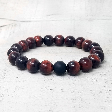 Matte Onyx + Natural Stone Beaded Stretch Bracelet // 10mm (Matte Onyx + Polished Onyx)