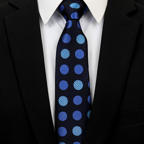 Silk Neck Tie + Gift Box // Metallic Blue Circles