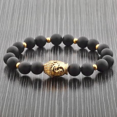 Gold Plated Stainless Steel Buddha Bead Bracelet // Onyx
