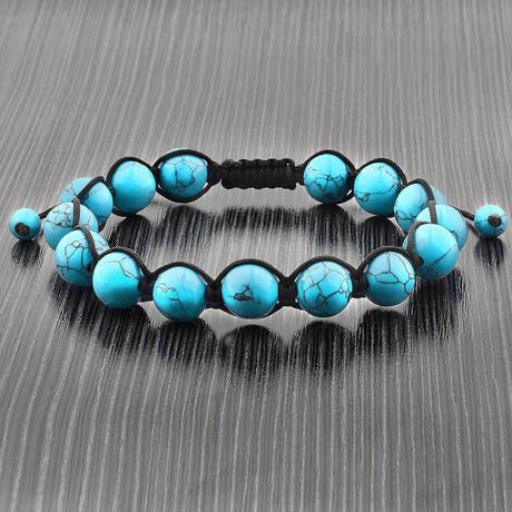 Turquoise Macrame Bead Adjustable Bracelet