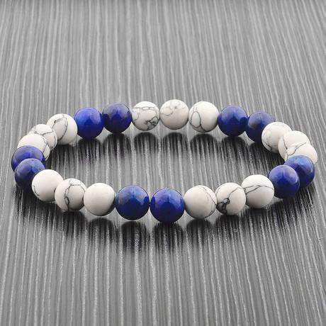 Howlite + Lapis Lazuli Stone Beaded Stretch Bracelet // Blue + White