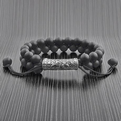 Natural Stone Double Layered Adjustable Bracelet (Onyx)
