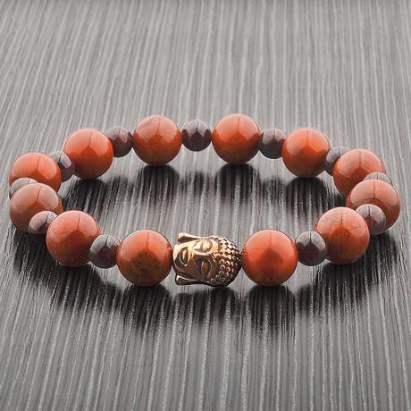 Red Jasper + Garnet Stone Gold Plated Buddha Stretch Bracelet // Gold + Purple + Red