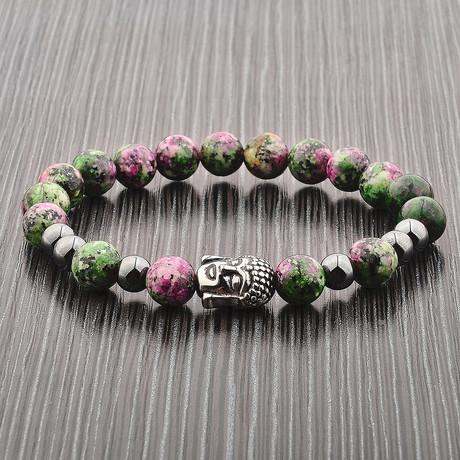Anyolite + Hematite Stone Stainless Steel Buddha Stretch Bracelet // Multicolor