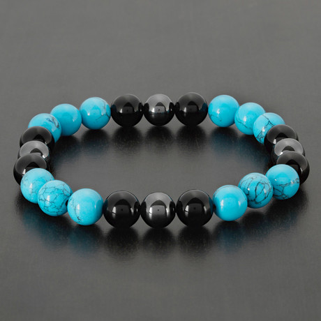 Turquoise + Onyx + Hematite Bead Bracelet (Blue)